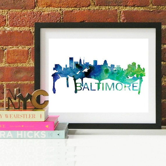 Baltimore Watercolor Skyline, Baltimore Skyline, Baltimore Art, Baltimore Poster, Baltimore Print, Baltimore Art, Baltimore Map, Baltimore