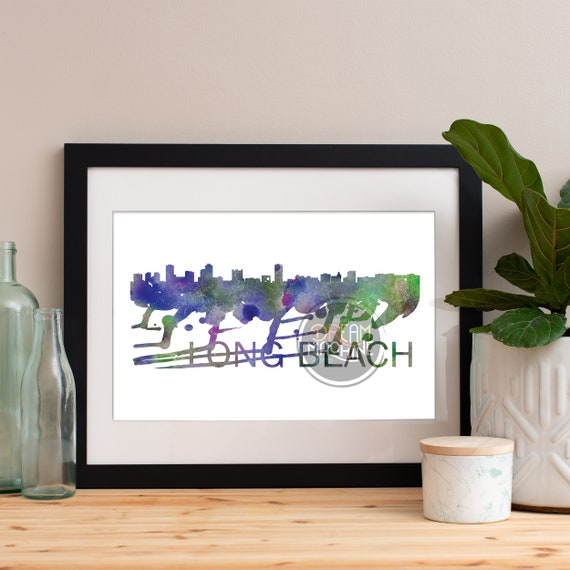 Long Beach Watercolor Skyline, Long Beach Skyline, Long Beach Art, Long Beach Poster, Long Beach Print, Long Beach Art, Long Beach Map