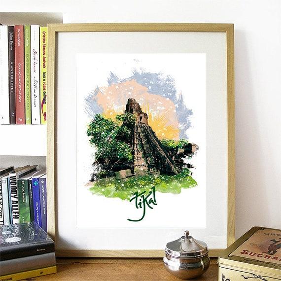 Tikal Guatemala Print, Tikal Skyline, Tikal Art, Tikal Poster, Tikal, Tikal Art Print, Tikal Map, Tikal Wall Art, Tikal Guatemala