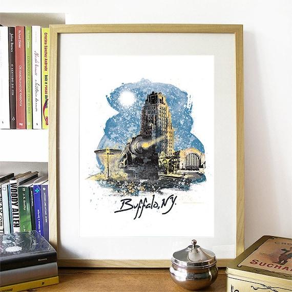 Buffalo Print, Buffalo Skyline, Buffalo Art, Buffalo Poster, Buffalo Watercolor, Buffalo Art Print, Buffalo Map, Buffalo Wall Art