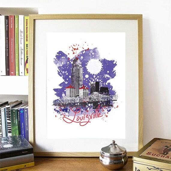Louisville Print, Louisville Skyline, Louisville Art, Louisville Poster, Louisville Watercolor, Louisville Art Print, Louisville Map