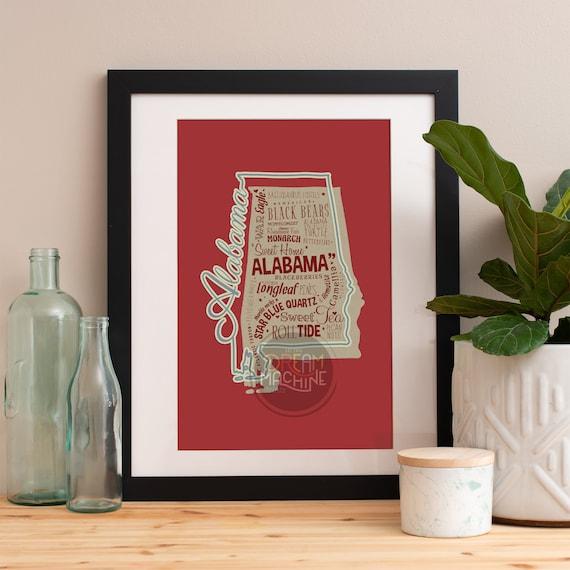Alabama Art Print, Alabama Wall Art, Alabama Poster, Alabama Art, Alabama Map, Alabama, Alabama Map, University of Alabama, Roll Tide Roll