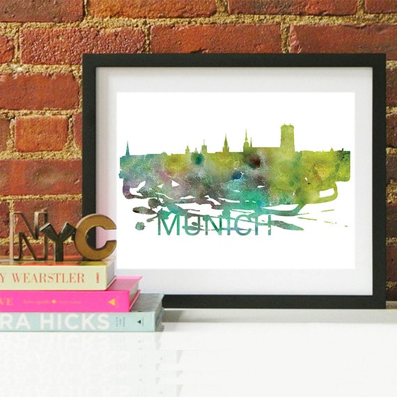 Munich Watercolor Skyline, Munich Skyline, Munich Art, Munich Poster, Munich Print, Munich Art, Munich Map, Munich Wall Art, Germany Art