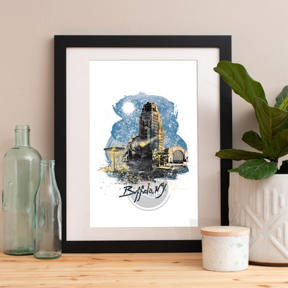 Buffalo Print, Buffalo Skyline, Buffalo Art, Buffalo Poster, Buffalo Watercolor, Buffalo Art Print, Buffalo Map, Buffalo Wall Art