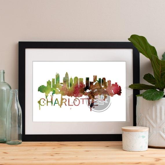 Charlotte Watercolor Skyline, Charlotte Skyline, Charlotte Art, Charlotte Poster, Charlotte Print, Charlotte Art, Charlotte Map, Charlotte