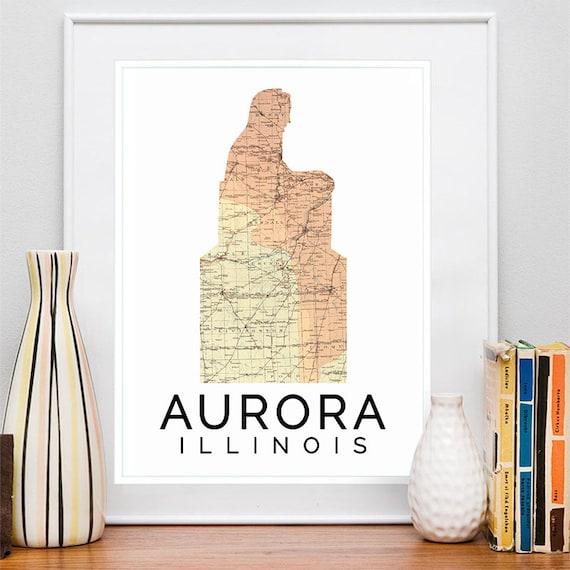 Aurora Print, Aurora Skyline, Aurora Art, Aurora Poster, Aurora Watercolor, Aurora Art Print, Aurora Map, Aurora Wall Art