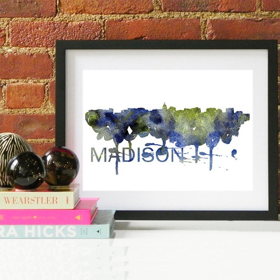 Madison Watercolor Skyline, Madison Skyline, Madison Art, Madison Poster, Madison Print, Madison Art, Madison Map, Madison Wall Art