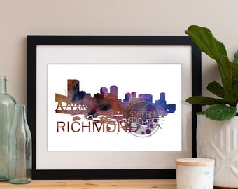 Richmond Watercolor Skyline, Richmond Skyline, Richmond Art, Richmond Poster, Richmond Print, Richmond Art, Richmond Map, Richmond Wall Art
