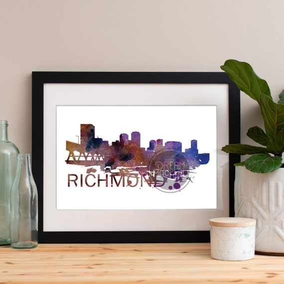 Richmond Watercolor Skyline, Richmond Skyline, Richmond Art, Richmond Poster, Richmond Print, Richmond Art, Richmond Map, Richmond Wall Art