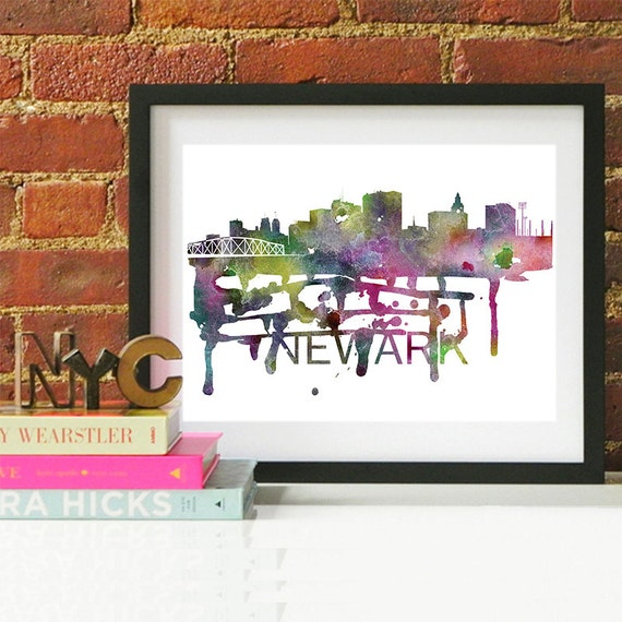 Newark Watercolor Skyline, Newark Skyline, Newark Art, Newark Poster, Newark Print, Newark Art, Newark Map, Newark Wall Art, New Jersey Art