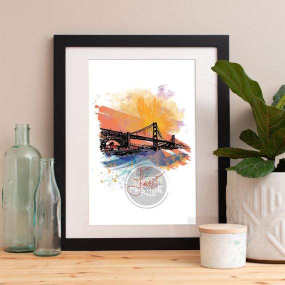 San Francisco Print, San Francisco Skyline, San Francisco Art, San Francisco Poster, San Francisco Watercolor, San Francisco Art