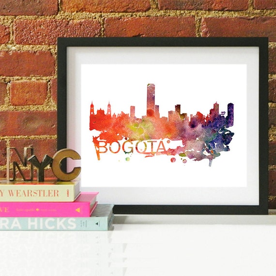 Bogota Watercolor Skyline, Bogota Skyline, Bogota Art, Bogota Poster, Bogota Print, Bogota Art, Bogota Map, Bogota Wall Art, Colombia Art