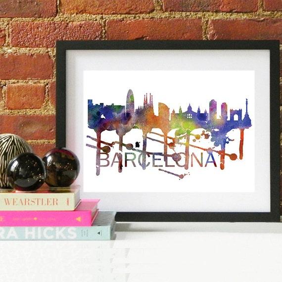 Barcelona Watercolor Skyline, Barcelona Skyline, Barcelona Art, Barcelona Poster, Barcelona Print, Barcelona Art, Barcelona Map, Barcelona