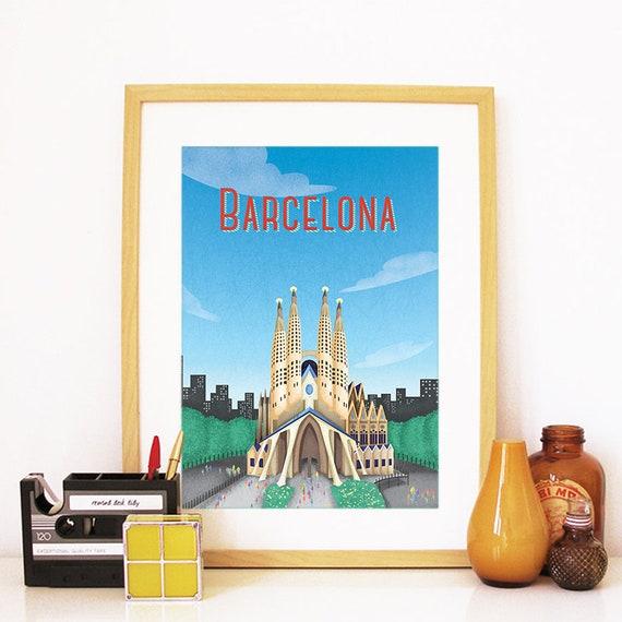 Barcelona Print, Barcelona Skyline, Barcelona Art, Barcelona Poster, Barcelona Watercolor, Barcelona Art, Barcelona Map, Barcelona Wall Art