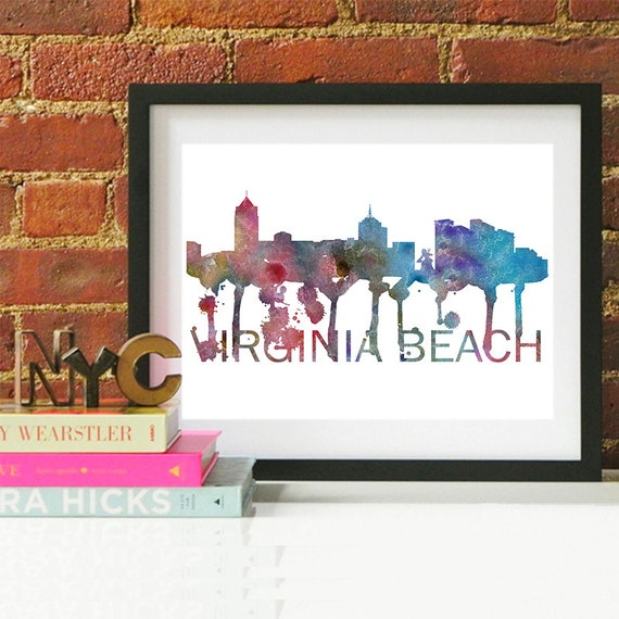 Virginia Beach Watercolor Skyline, Virginia Beach Skyline, Virginia Beach Art, Virginia Beach Poster, Virginia Beach Print, Virginia Beach
