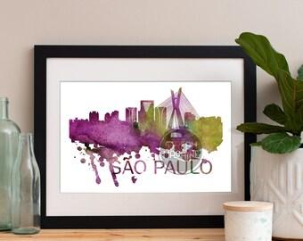 Sao Paulo Watercolor Skyline, Sao Paulo Skyline, Sao Paulo Art, Sao Paulo Poster, Sao Paulo Print, Sao Paulo Art, Sao Paulo Map, Sao Paulo