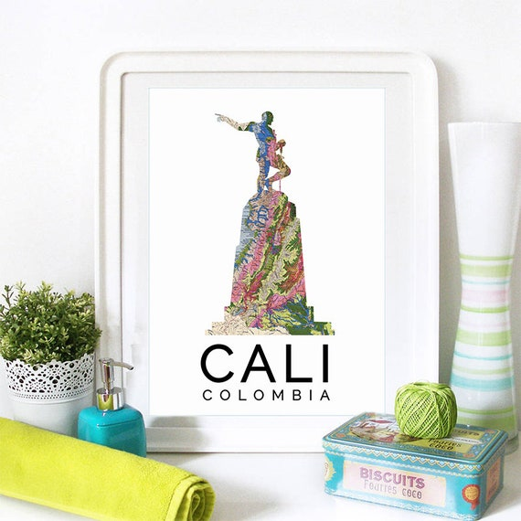 Cali Print, Cali Skyline, Cali Art, Cali Poster, Cali Watercolor, Cali Art Print, Cali Map, Cali Wall Art, Cali Columbia, Columbia Art