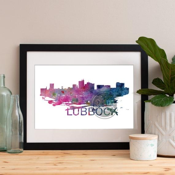 Lubbock Watercolor Skyline, Lubbock Skyline, Lubbock Art, Lubbock Poster, Lubbock Print, Lubbock Art, Lubbock Map, Lubbock Wall Art, Texas