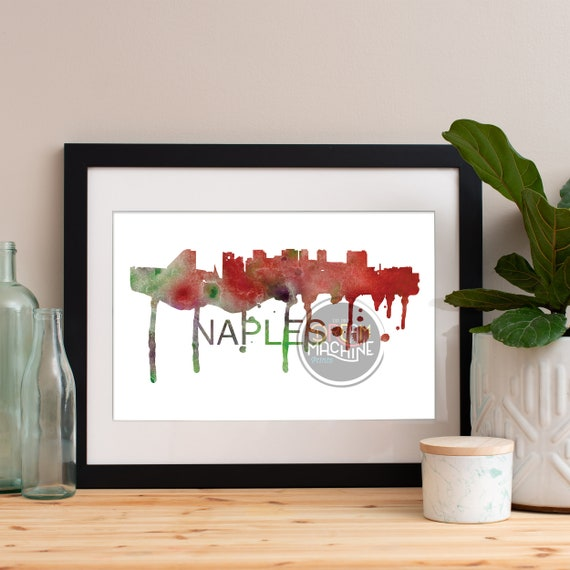 Naples Watercolor Skyline, Naples Skyline, Naples Art, Naples Poster, Naples Print, Naples Art, Naples Map, Naples Wall Art, Italy Art