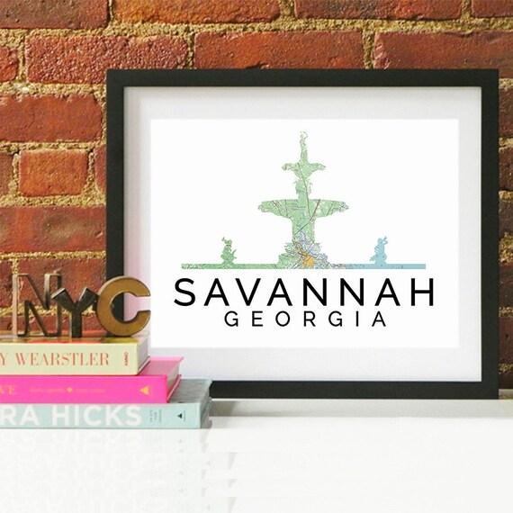 Savannah Print, Savannah Skyline, Savannah Art, Savannah Poster, Savannah Watercolor, Savannah Art Print, Savannah Map, Savannah Wall Art