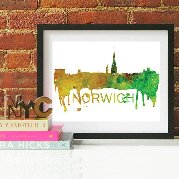 Norwich Watercolor Skyline, Norwich Skyline, Norwich Art, Norwich Poster, Norwich Print, Norwich Art, Norwich Map, Norwich Wall Art, England