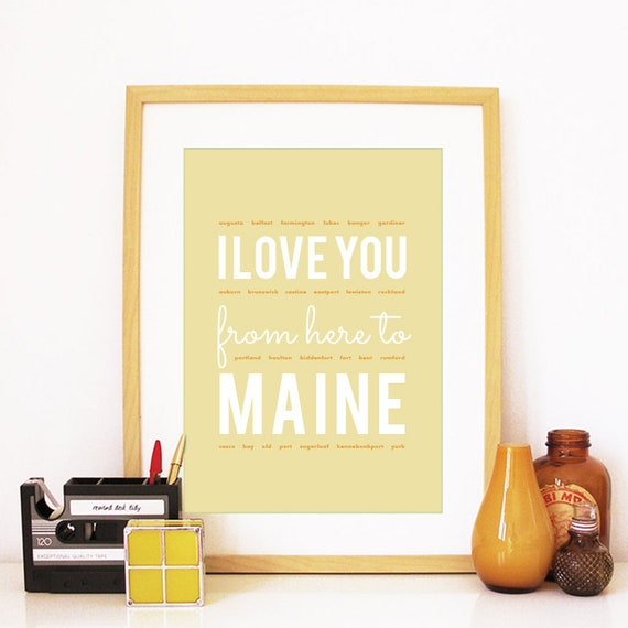 I love you from here to Maine, Maine Print, Maine Skyline, Maine Art, Maine Poster, Maine Watercolor, Maine Art Print
