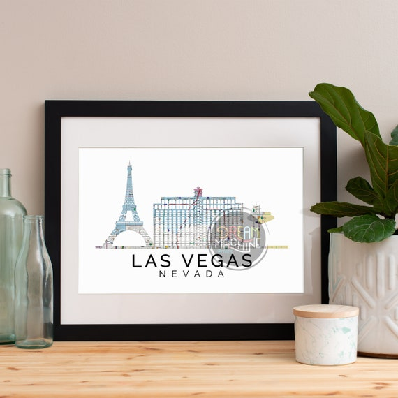 Las Vegas Print, Las Vegas Skyline, Las Vegas Art, Las Vegas Poster, Las Vegas Watercolor, Las Vegas Art Print, Las Vegas Map, Las Vegas