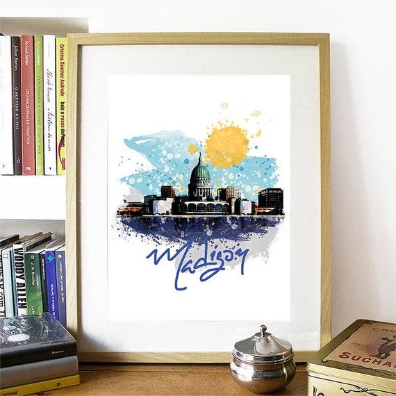 Madison Print, Madison Skyline, Madison Art, Madison Poster, Madison Watercolor, Madison Art Print, Madison Map, Madison Wall Art