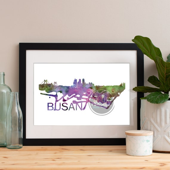 Busan Watercolor Skyline, Busan Skyline, Busan Art, Busan Poster, Busan Print, Busan Art, Busan Map, Busan Wall Art, Korea Art