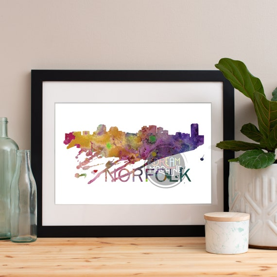 Norfolk Watercolor Skyline, Norfolk Skyline, Norfolk Art, Norfolk Poster, Norfolk Print, Norfolk Art, Norfolk Map, Norfolk Wall Art
