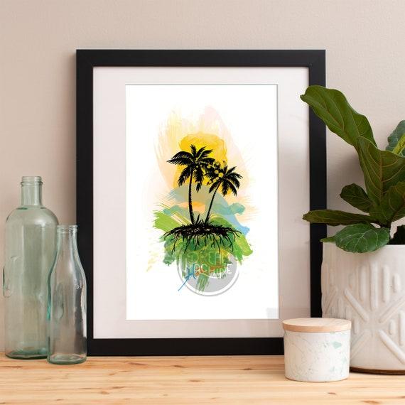 Hawaii Print, Hawaii Skyline, Hawaii Art, Hawaii Poster, Hawaii Watercolor, Hawaii Art, Hawaii Map, Hawaii Wall Art, Hawaii Art