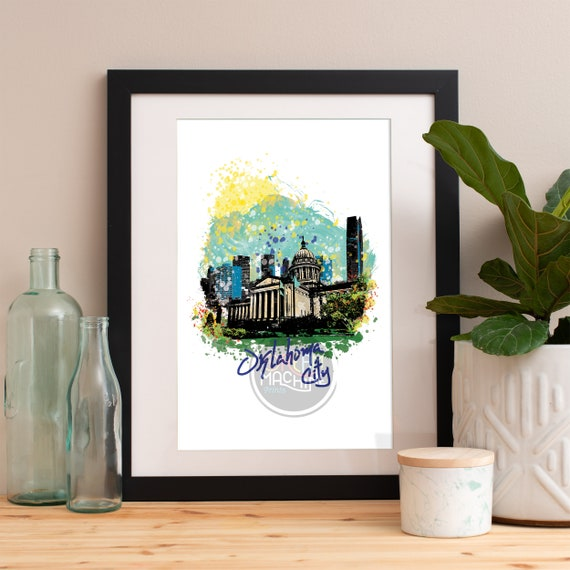 Oklahoma City Print, Oklahoma City Skyline, Oklahoma City Art, Oklahoma City Poster, Oklahoma City Watercolor, Oklahoma City Art Print