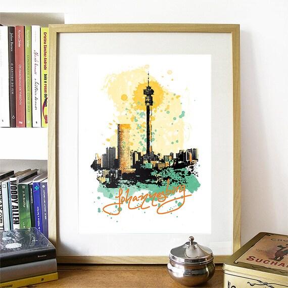 Johannesburg Print, Johannesburg Skyline, Johannesburg Art, Johannesburg Poster, Johannesburg Watercolor, Johannesburg Art Print, Africa
