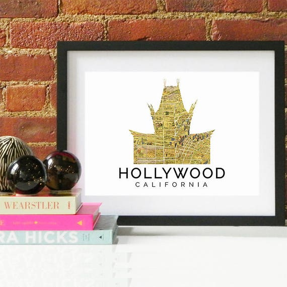 Hollywood Print, Hollywood Skyline, Hollywood Art, Hollywood Poster, Hollywood Watercolor, Hollywood Art Print, Hollywood Map, Hollywood