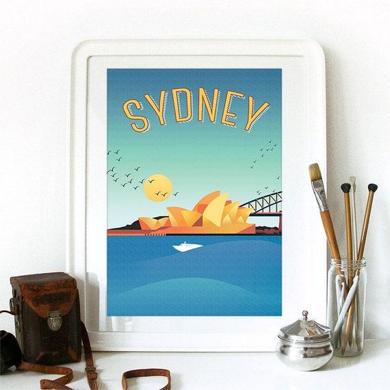 Sydney Print, Sydney Skyline, Sydney Art, Sydney Poster, Sydney Watercolor, Sydney Art Print, Sydney Map, Sydney Wall Art, Australia Art