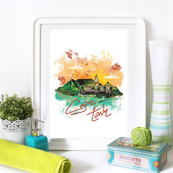 Cape Town Print, Cape Town Skyline, Cape Town Art, Cape Town Poster, Cape Town Watercolor, Cape Town Art Print, Cape Town Map, Cape Town Art
