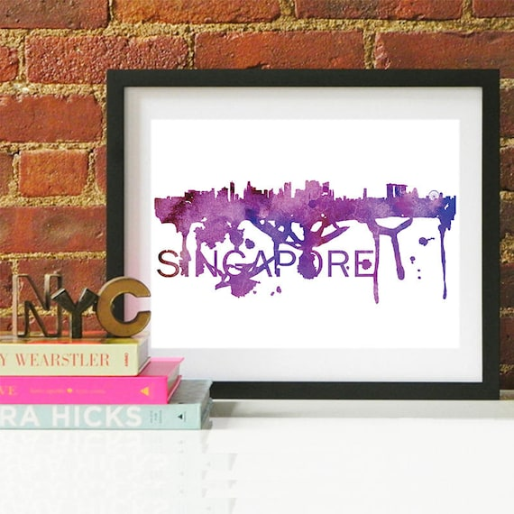 Singapore Watercolor Skyline, Singapore Skyline, Singapore Art, Singapore Poster, Singapore Print, Singapore Art, Singapore Map, Singapore