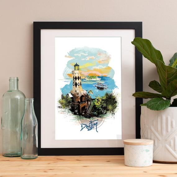 Destin Print, Destin Skyline, Destin Art, Destin Poster, Destin Watercolor, Destin Art Print, Destin Map, Destin Wall Art, Destin Florida