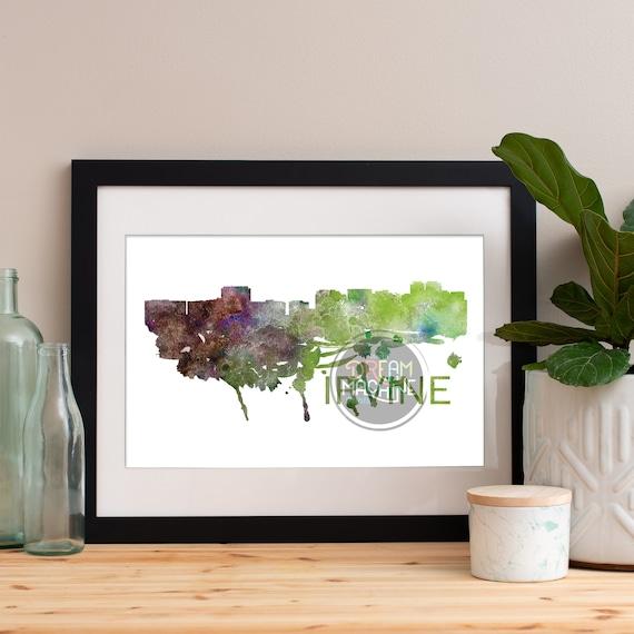 Irvine Watercolor Skyline, Irvine Skyline, Irvine Art, Irvine Poster, Irvine Print, Irvine Art, Irvine Map, Irvine Wall Art, California Art