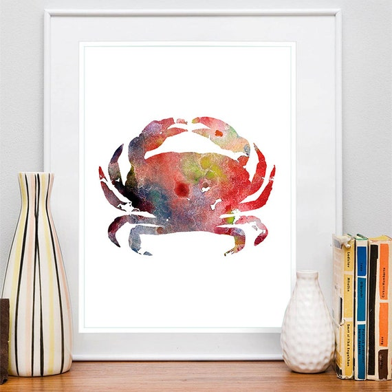 Crab Print Blue and Red Watercolor