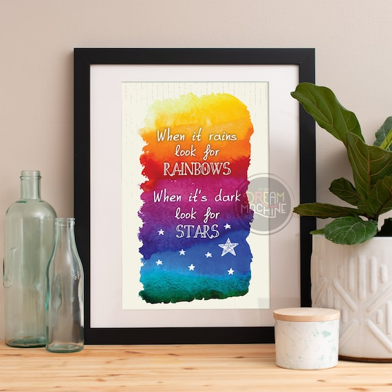 Motivational Poster When It Rains Look For Rainbows Colorful Poster Art Print colorful Motivational Poster Whimsical Poster