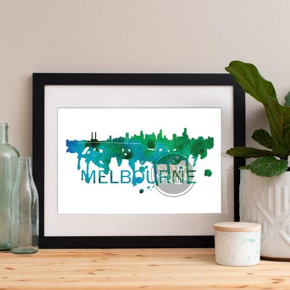 Melbourne Watercolor Skyline, Melbourne Skyline, Melbourne Art, Melbourne Poster, Melbourne Print, Melbourne Art, Melbourne Map, Melbourne