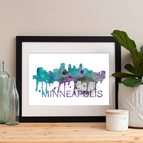 Minneapolis Watercolor Skyline, Minneapolis Skyline, Minneapolis Art, Minneapolis Poster, Minneapolis Print, Minneapolis Art, Minneapolis
