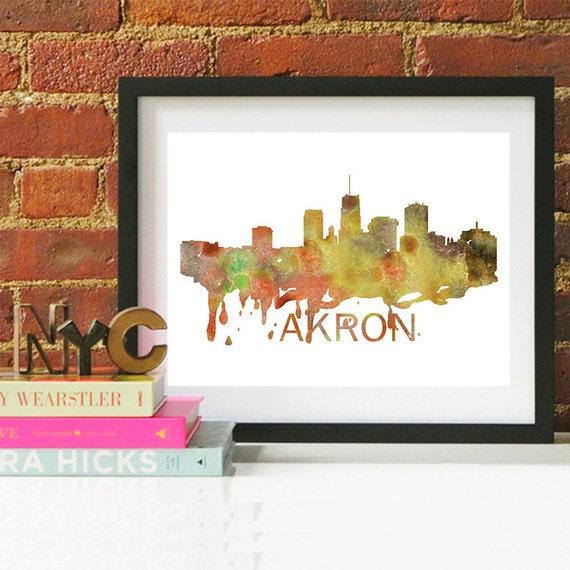 Akron Watercolor Skyline, Akron Skyline, Akron Art, Akron Poster, Akron Print, Akron Art, Akron Map, Akron Wall Art, Ohio Art
