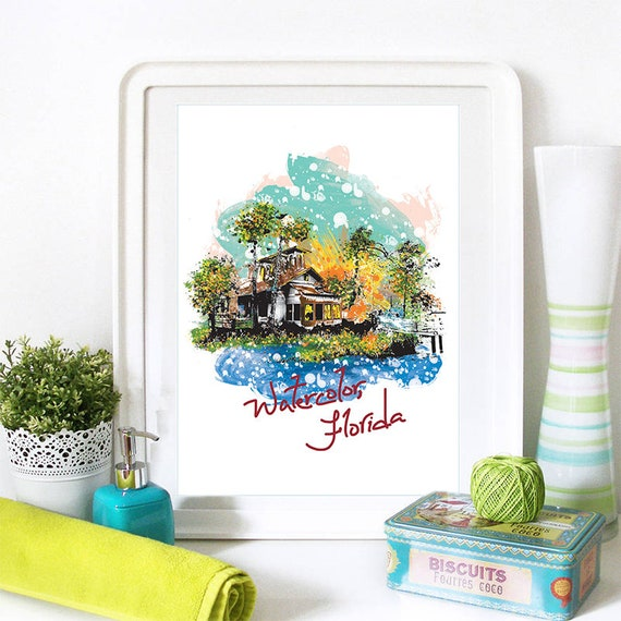 Watercolor Print, Watercolor Skyline, Watercolor Art, Watercolor Poster, Watercolor Watercolor, Watercolor Art Print, Watercolor Map