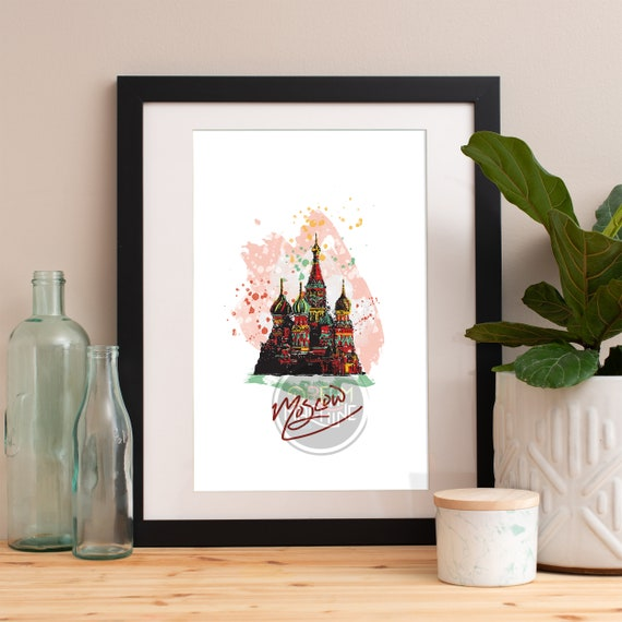 Moscow Print, Moscow Skyline, Moscow Art, Moscow Poster, Moscow Watercolor, Moscow Art Print, Moscow Map, Moscow Wall Art, Moscow Russia