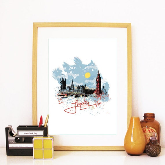 London Art, London Print, London Art Print, London Wall Art, London Skyline, London Decor, Big Ben Clock, London Travel Art, London Poster