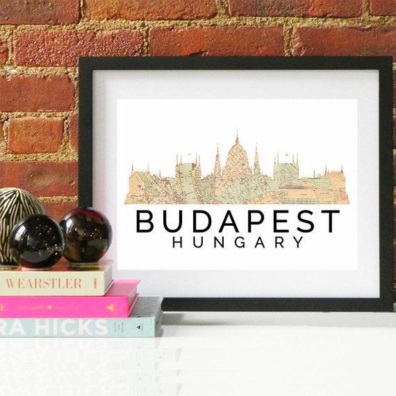 Budapest Print, Budapest Skyline, Budapest Art, Budapest Poster, Budapest Watercolor, Budapest Art Print, Budapest Map, Budapest Wall Art