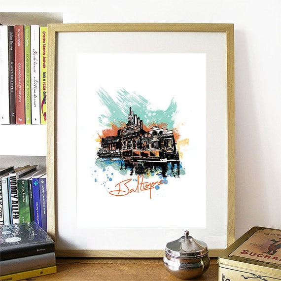 Baltimore Print, Baltimore Skyline, Baltimore Art, Baltimore Poster, Baltimore Watercolor, Baltimore Art, Baltimore Map, Baltimore Wall Art