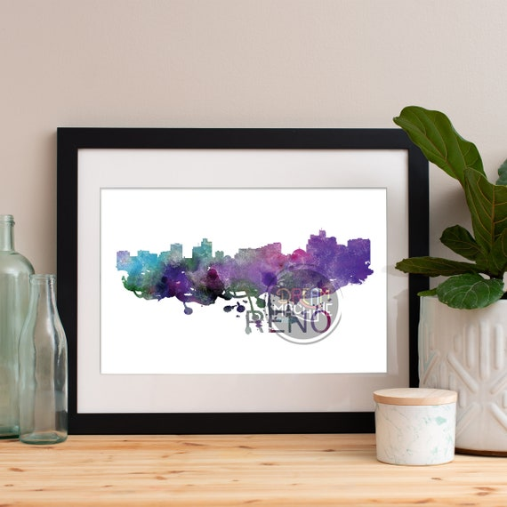 Reno Watercolor Skyline, Reno Skyline, Reno Art, Reno Poster, Reno Print, Reno Art, Reno Map, Reno Wall Art, Nevada Art